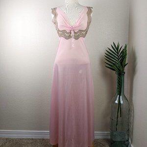 Vintage Glydon's Lace Lingerie Gown Slip Pink S